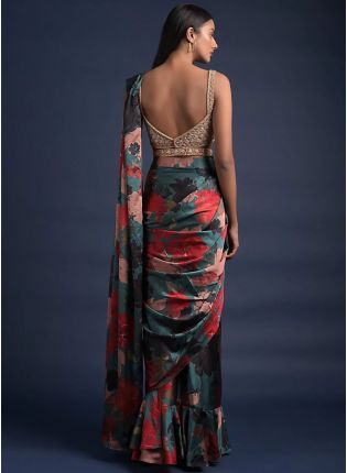 Trendy Impressive Multi-Color Printed Saree with Embroidered Blouse