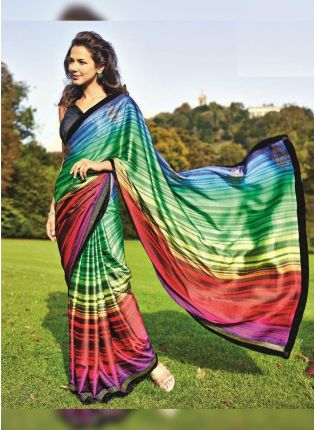 Best Wonderful Multi-Colored Satin Base Digital Printed Festive Wear Saree