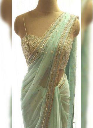Trendy Unbeatable Pista Green Georgette Base Real Mirror Work Designer Saree