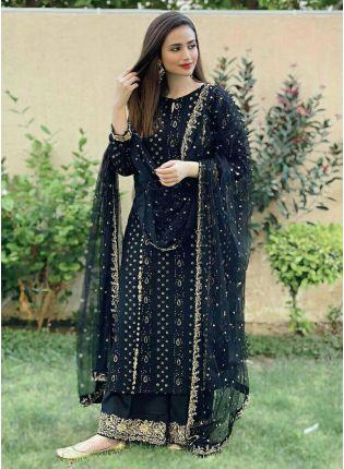Shining Black Georgette with Zari Work Palazzo Salwar Suit