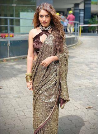 girl in Beige Sequins Embroidered Saree