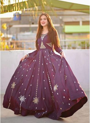 Wine Color Georgette Base With Mirror Work Designer Gown