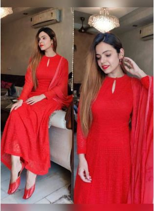 Eye-Catching Red Color Georgette Base Designer Gown With Same Color Dupatta