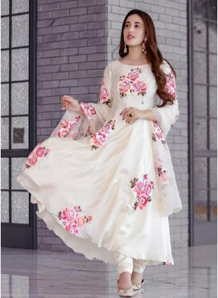 Charming White Color With Georgette Base Salwar Suit