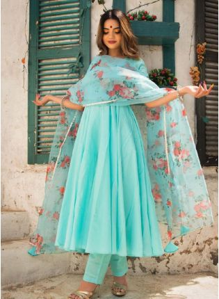 Sweet Turquoise color with Organza Dupatta and Anarkali suit