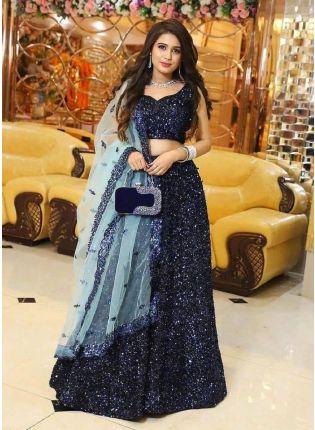 girl in Elegant Navy Blue Lehenga Choli Set