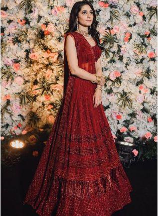 Buy Glitzy Look Maroon Color Sequins Base Bollywood Lehenga Choli