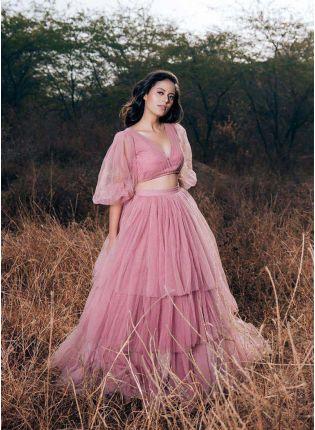 Baby Pink Color Soft Net Base Designer Look Ruffle Lehenga Choli