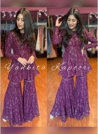 Wine Color Georgette With Sequins Base Party Wear Designer Look Palazzo Salwar Suit