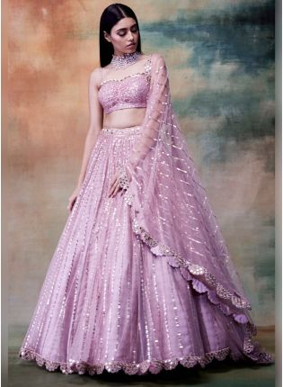 Ravishing Pink Color Soft Net Base Lehenga Choli