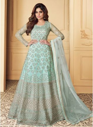 Attractive Turquoise Color Anarkali Suit With Zari Work