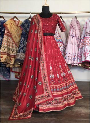 Shop Majestic Deep Red Silk Base Digital Printed Lehenga Choli