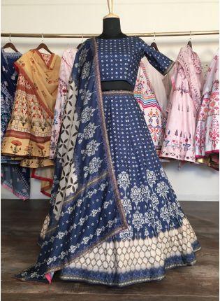Shop Elegant Navy Blue Silk Base Designer Flared Lehenga Choli