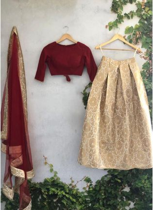 Shop Majestic Beige Banarasi Silk Base Wedding Special Lehenga Choli