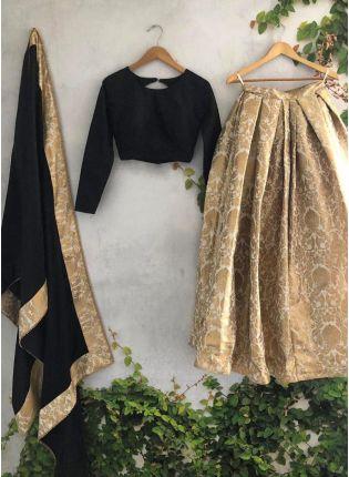 Shop Fabulous Beige Banarasi Silk Base Woven Lehenga Choli