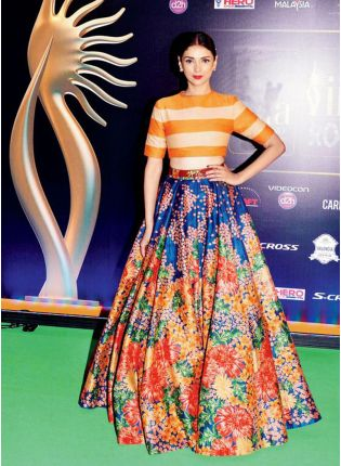 Flower Print Orange Color Printed Lehenga Choli