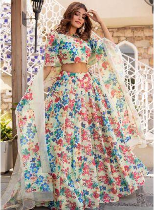 Glamorous Off-White Color Silk Base Digital Print Party Wear Flared Lehenga Choli