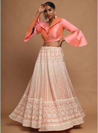 girl in Peach Resham Lehenga Choli