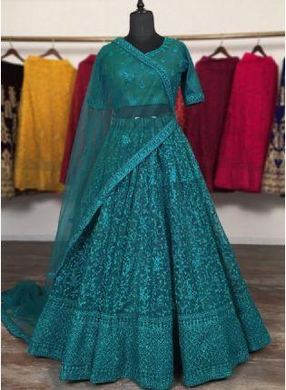 Elegant Turquoise Color Net Base With Zari Work Wedding Wear Lehenga Choli