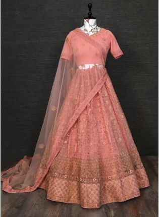 Commendable Peach Color Soft Net Base With Embroidered Zari Work Wedding Wear Lehenga Choli