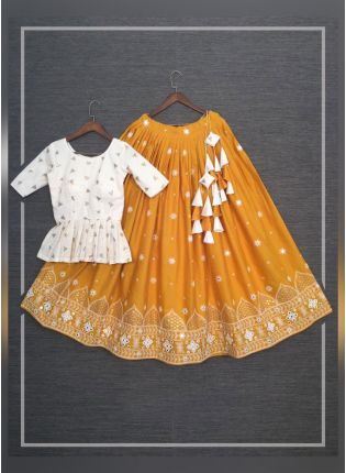 Mustard Yellow Color Pure Cotton Base With Lucknowi work Flared Lehenga Choli
