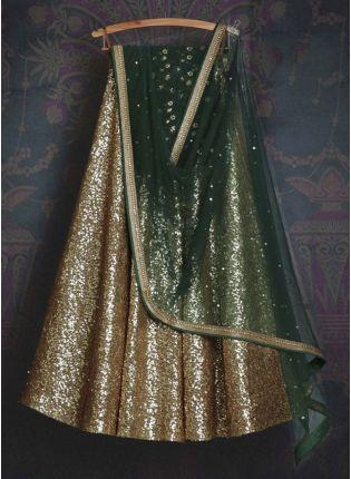 Beige Resham Sequins Silk Lehenga Choli Set