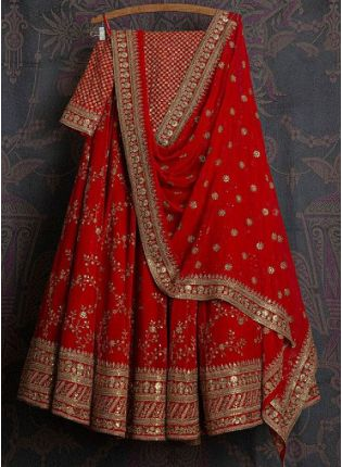 Glamorous Red Color Georgette Base With Thread and Embroidery Work Lehenga Choli
