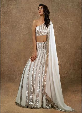 Designer Look White Color Georgette Base With Sequins Work Party Wear Lehenga Choli