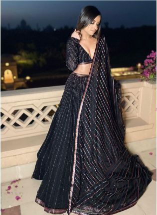 Glittering Black Color Georgette base Designer Lehenga Choli