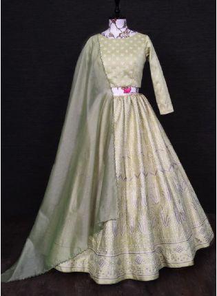 Astonishing Beige Color Silk Base Wedding Wear Heavy Work Embroidered Lehenga Choli