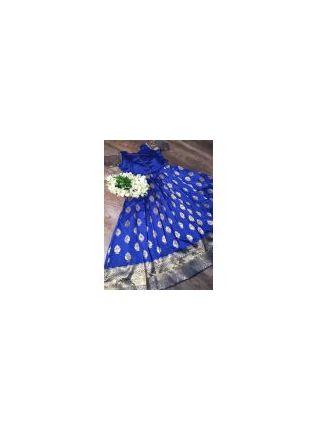 Blue Silk Waving Stylish Ceremonial Designer Gown