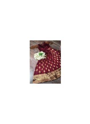 Maroon Silk Waving Festive Trendy Designer Gown