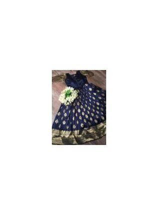 display of Navy Silk Waving Designer Gown