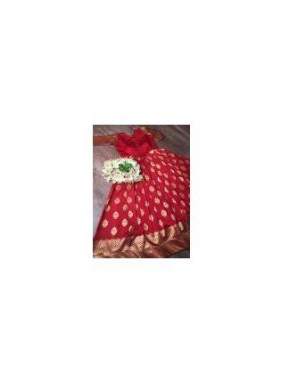 display of Red Silk Waving Designer Gown