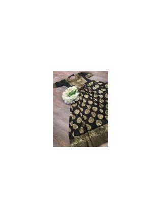 Shop Tempting Black Silk Base Festive Wear Designer Gown