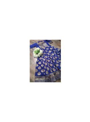 Shop Royal Blue Charming Festive Wear Silk Base Designer Gown