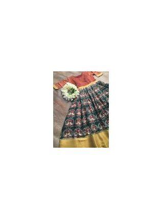 Golden Bordered Green Silk Waving Designer Gown