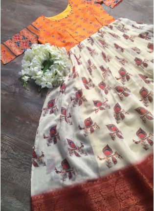 Exotic White and Orange Partywear Designer Gown