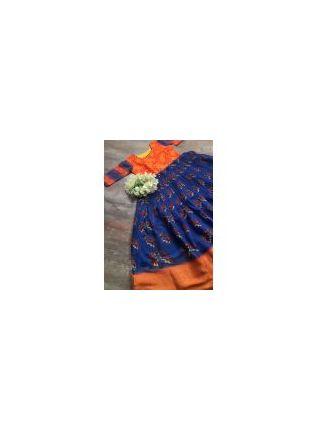 Eye-popping Orange and Blue Silk Waving Designer Gown