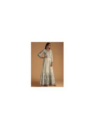 New Style White Color Maslin Silk Base Digital Print Designer Gown