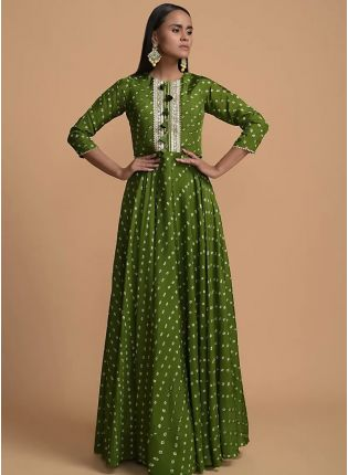 Girly Look Green Color Western Style Umbrella Gown