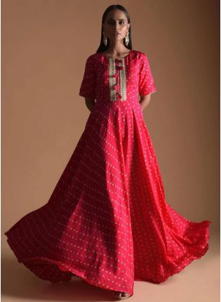 Girly Look Red Color Western Style Umbrella Gown
