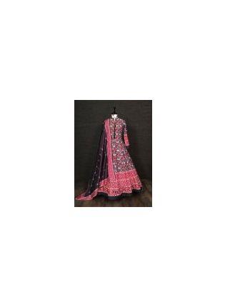 Trendy Black Color Silk Base Printed Designer Anarkali Gown With Heavy Dupatta