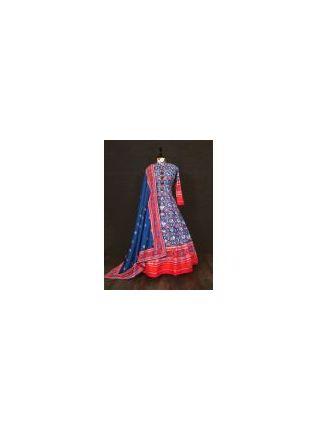 Trendy Blue Color Silk Base Printed Designer Anarkali Gown With Heavy Dupatta