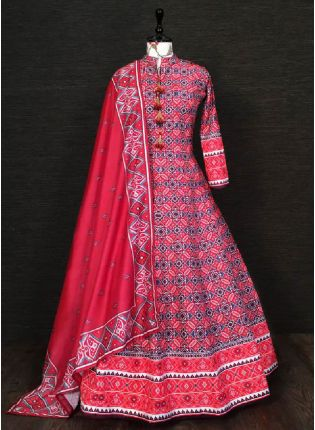 Trendy Red  Color Silk Base Printed Designer Anarkali Gown With Heavy Dupatta