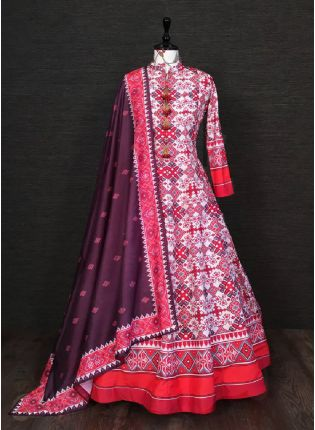 Trendy White Color Silk Base Printed Designer Anarkali Gown With Heavy Dupatta