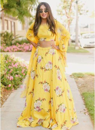 Shop Modish Sandy Yellow Satin Base Haldi Special Lehenga Choli