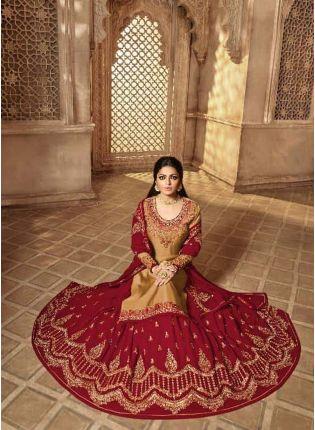 Top Delightful Beige Color Designer Wedding Wear Salwar Kameez Suit