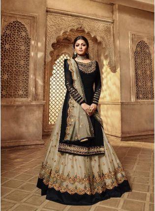 Decent Fabulous Black Color Designer Wedding Wear Salwar Kameez Suit