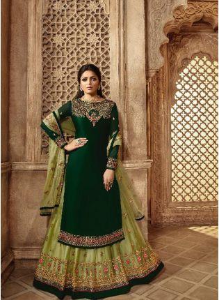 Purchase Dark Green Color Designer Wedding Wear Salwar Kameez Suit